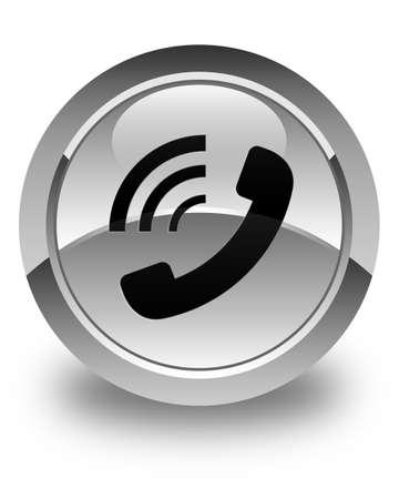 ringing: Phone ringing icon glossy white round button
