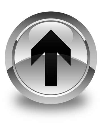 upload: Upload arrow icon glossy white round button Stock Photo