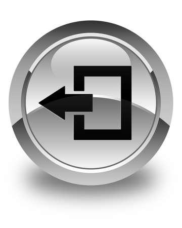 shut out: Logout icon glossy white round button Stock Photo
