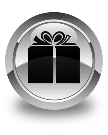 glassy: Gift box icon glossy white round button Stock Photo