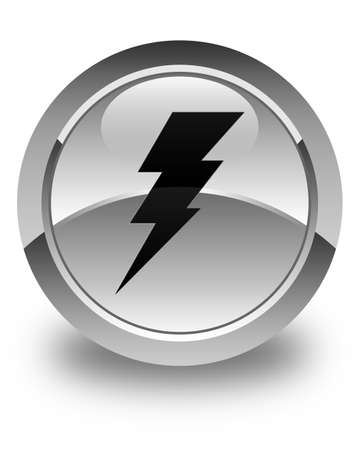 3d lightning: Electricity icon glossy white round button