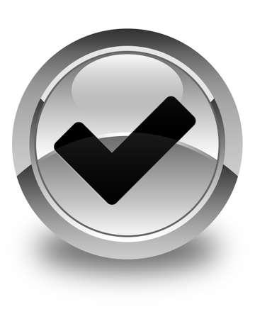 validate: Validate icon glossy white round button Stock Photo