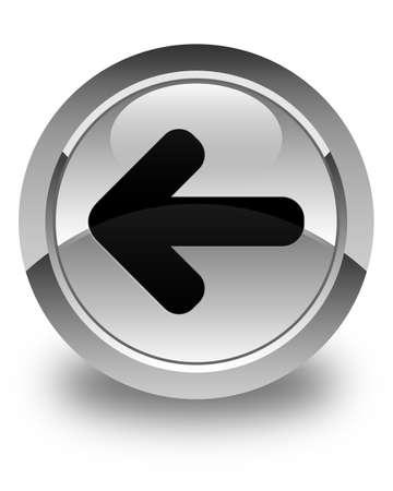 back arrow: Back arrow icon glossy white round button Stock Photo