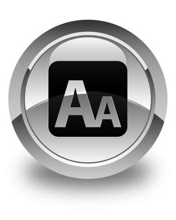 box size: Font size box icon glossy white round button Stock Photo