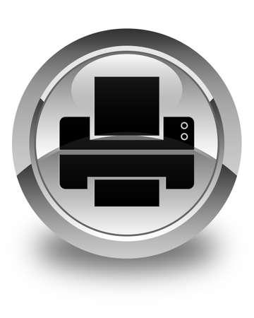 Printer icon glossy white round button