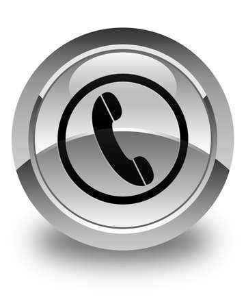 phone button: Phone icon glossy white round button