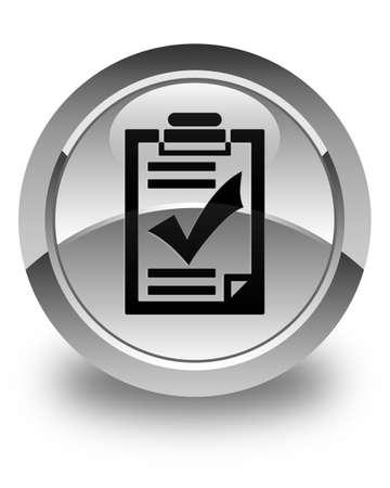 task list: Checklist icon glossy white round button