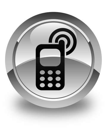 ringing: Cellphone ringing icon glossy white round button