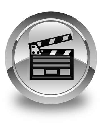 Cinema clip icon glossy white round button Banco de Imagens