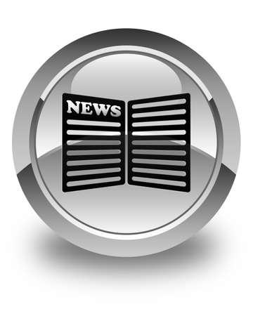 news current events: Newspaper icon glossy white round button