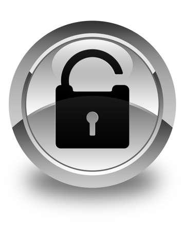 safeguards: Unlock icon glossy white round button