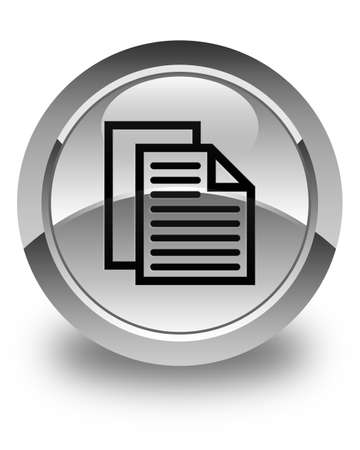 term and conditions: Document pages icon glossy white round button