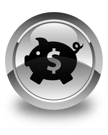 dollar sign icon: Piggy bank (dollar sign) icon glossy white round button
