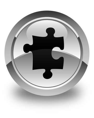 quest: Puzzle icon glossy white round button Stock Photo