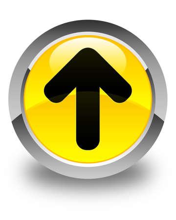uploading: Upload arrow icon glossy yellow round button