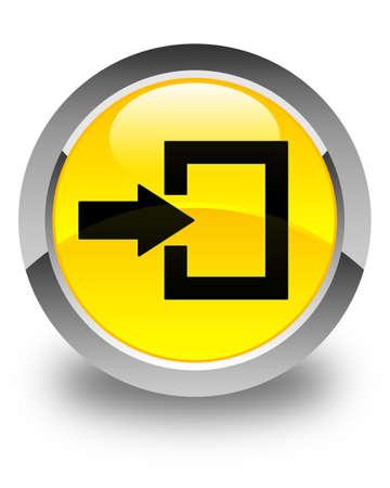 login icon: Login icon glossy yellow round button