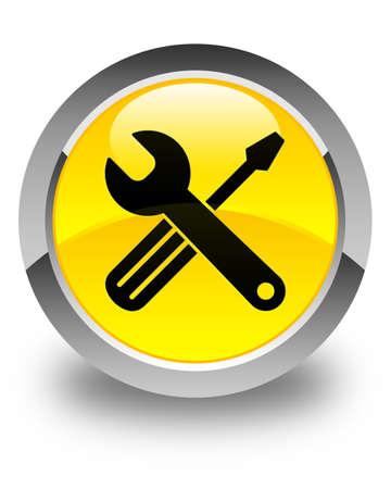modify: Tools icon glossy yellow round button Stock Photo