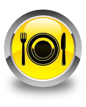 food plate: Food plate icon glossy yellow round button