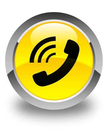 phone button: Phone ringing icon glossy yellow round button Stock Photo