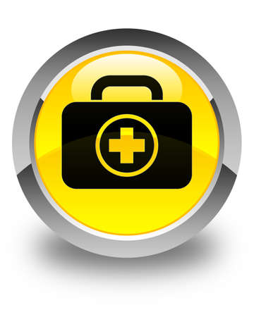 first aid kit: First aid kit icon glossy yellow round button Stock Photo