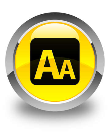 big size: Font size box icon glossy yellow round button Stock Photo