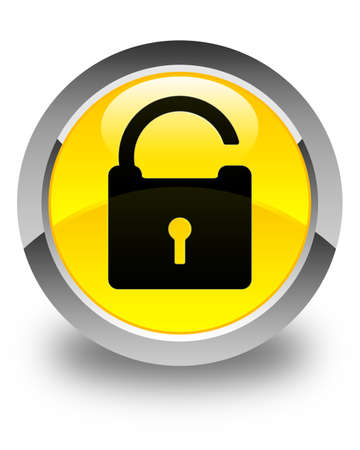 defend: Unlock icon glossy yellow round button