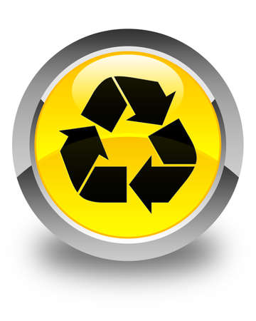 recycle icon: Recycle icon glossy yellow round button