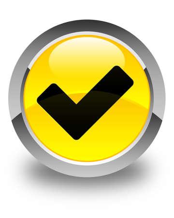 validate: Validate icon glossy yellow round button Stock Photo