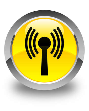 wlan: Wlan network icon glossy yellow round button
