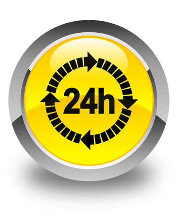 twenty four hour: 24 hours delivery icon glossy yellow round button