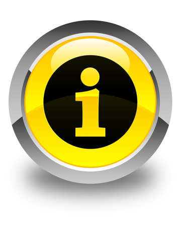 quest: Info icon glossy yellow round button Stock Photo
