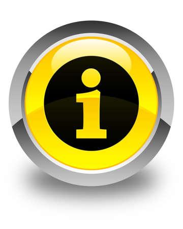 inform information: Info icon glossy yellow round button Stock Photo