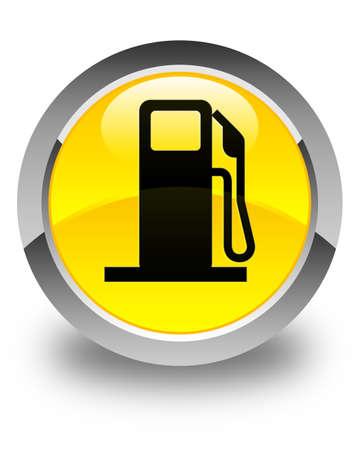 dispenser: Fuel dispenser icon glossy yellow round button