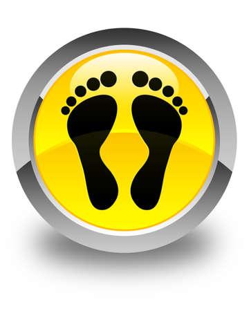 familiar: Footprint icon glossy yellow round button Stock Photo