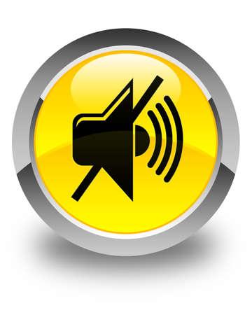 volume: Mute volume icon glossy yellow round button