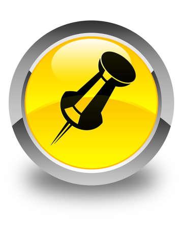 thumbtack: Push pin icon glossy yellow round button