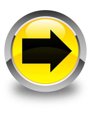 go forward: Next arrow icon glossy yellow round button Stock Photo