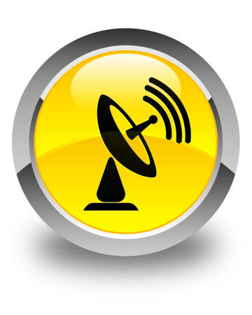tv tower: Satellite dish icon glossy yellow round button Stock Photo