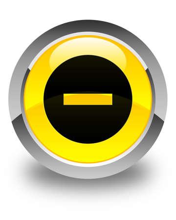 Cancel icon glossy yellow round button Stock Photo