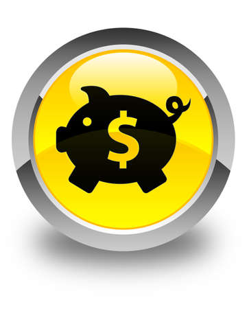 dollar sign icon: Piggy bank (dollar sign) icon glossy yellow round button