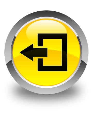 shut out: Logout icon glossy yellow round button Stock Photo