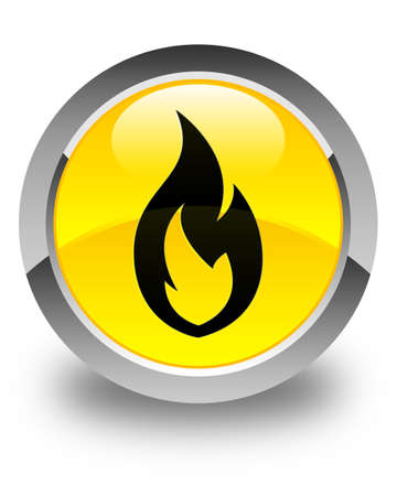 wildfire: Fire flame icon glossy yellow round button