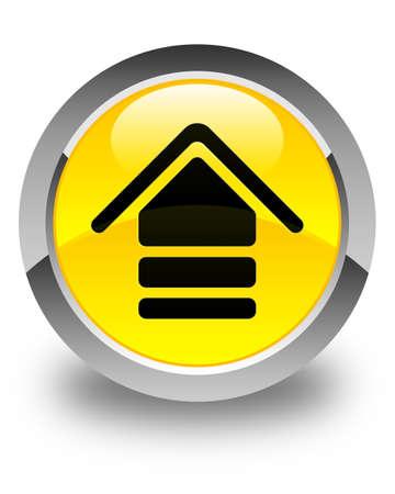 upload: Upload icon glossy yellow round button Stock Photo