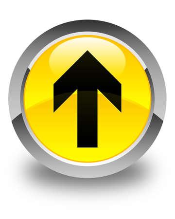 upload: Upload arrow icon glossy yellow round button