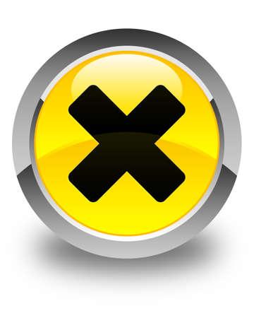 disagree: Cancel icon glossy yellow round button Stock Photo