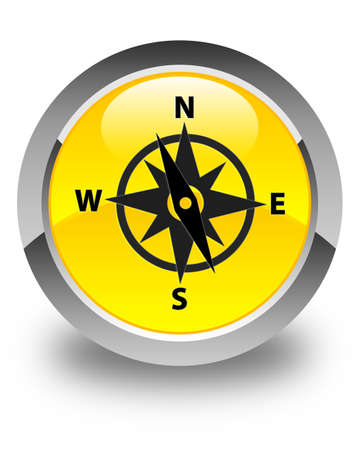 shiny icon: Compass icon glossy yellow round button Stock Photo