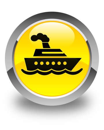 cruise ship icon: Cruise ship icon glossy yellow round button