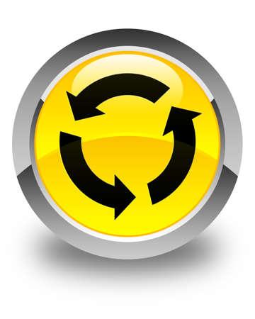 refresh icon: Refresh icon glossy yellow round button
