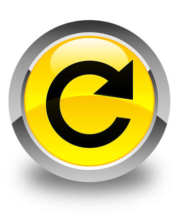reply: Reply rotate icon glossy yellow round button Stock Photo