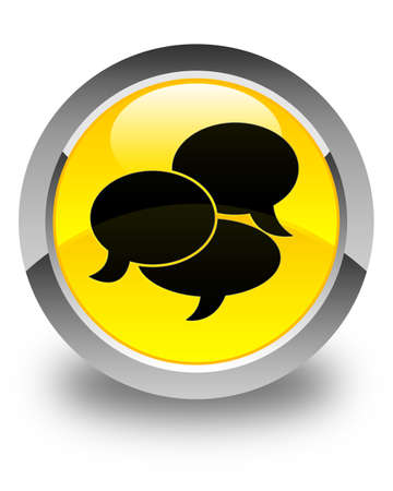comments: Comments icon glossy yellow round button Stock Photo